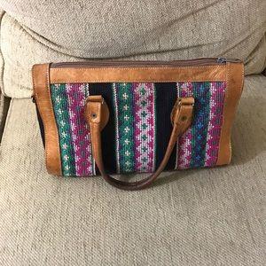 Embroidered leather handbag